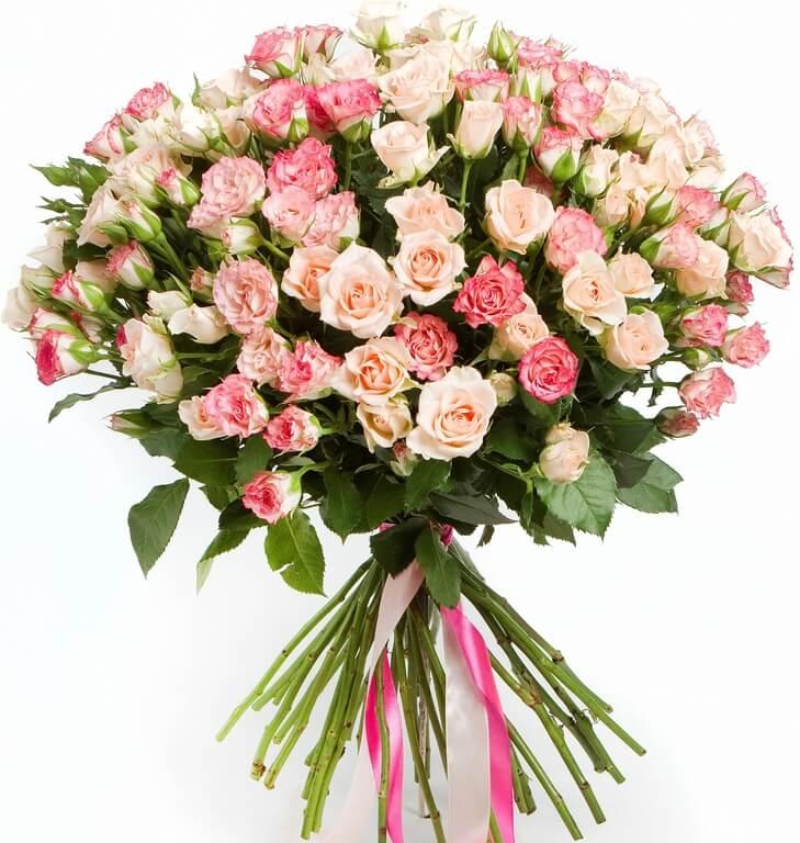 19 кустовых роз – нежный оттенок